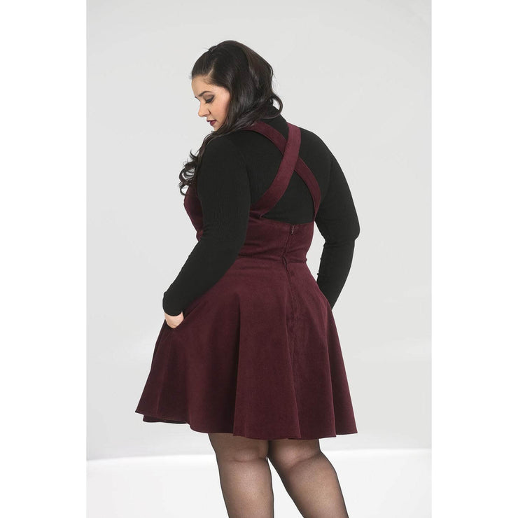 Hell Bunny Wonder Years Pinafore Dress - Burgundy - plus model back