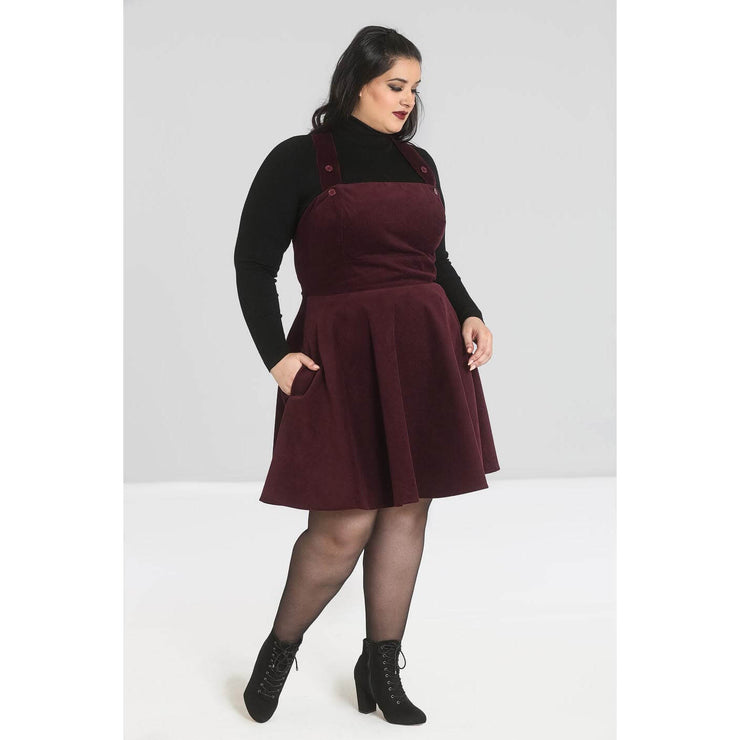 Hell Bunny Wonder Years Pinafore Dress - Burgundy - plus model full length