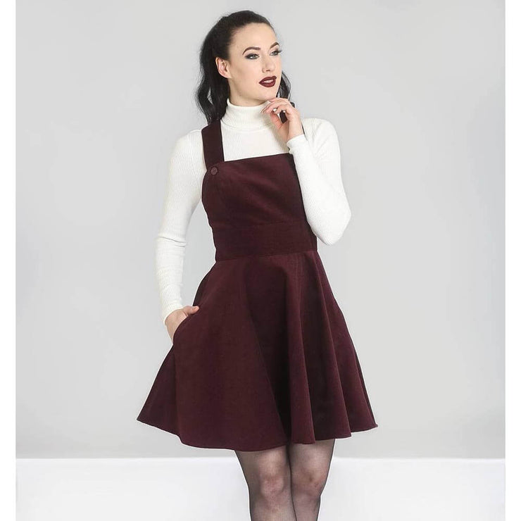 Hell Bunny Wonder Years Pinafore Dress - Burgundy - standard model close