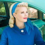 Image of blonde model wearing Vintage Hairstyling Tidy Tresses Hair Scarf - Electric Blue