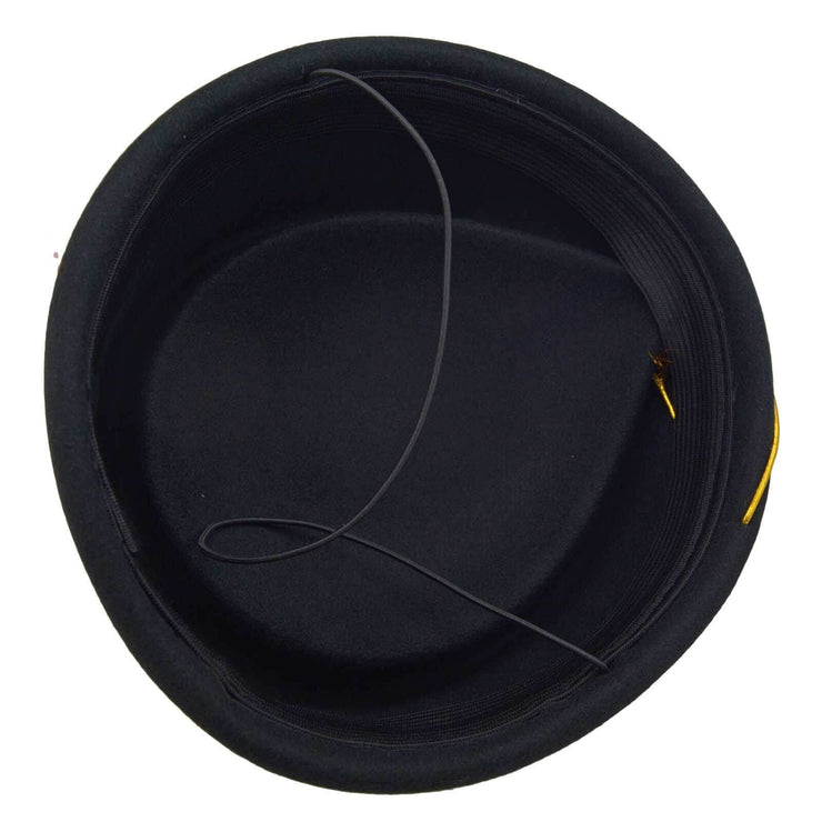 Image of Pillbox Air Hostess Hat - Black W/ Gold Trim
