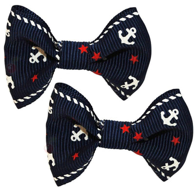Image of Hair Clips - Anchor Bows - Navy Blue