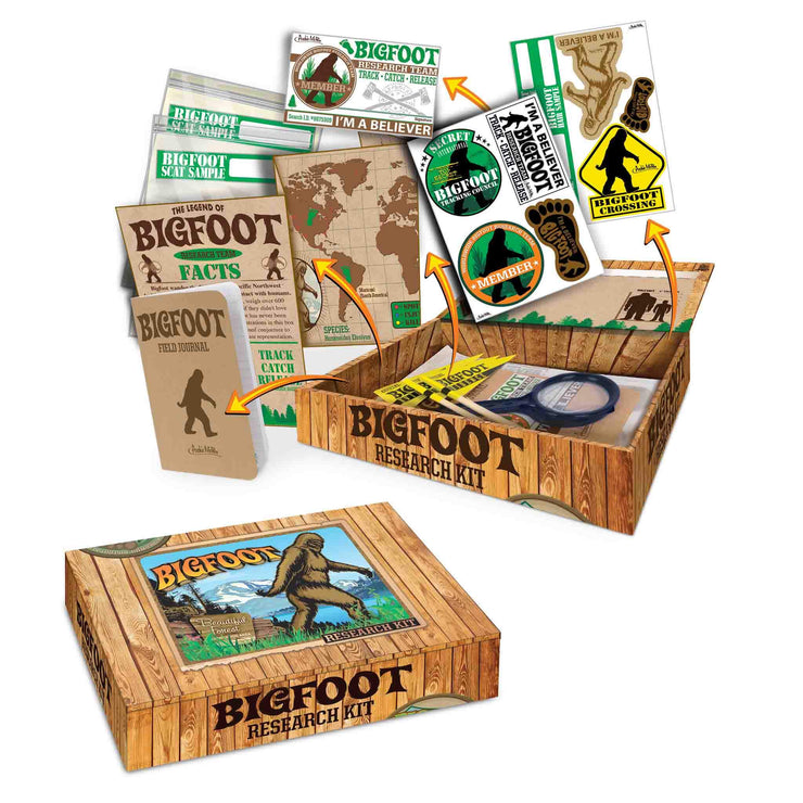 Contents image Archie McPhee Big Foot Sasquatch Research Kit