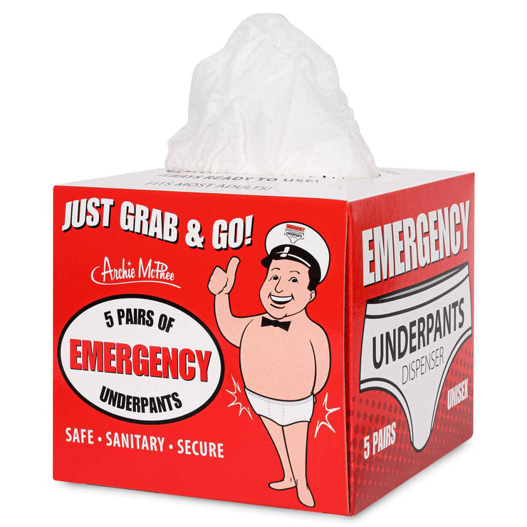 Front image Archie McPhee Emergency Underpants In A Box