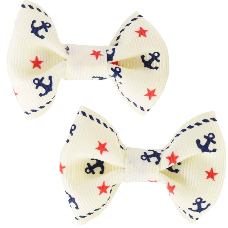 Image of Hair Clips - Anchor Bows - Cream