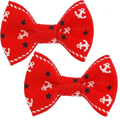 Image of Hair Clips - Anchor Bows - Red