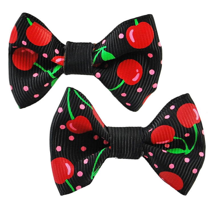 Image of Hair Clips - Cherry Bows - Black
