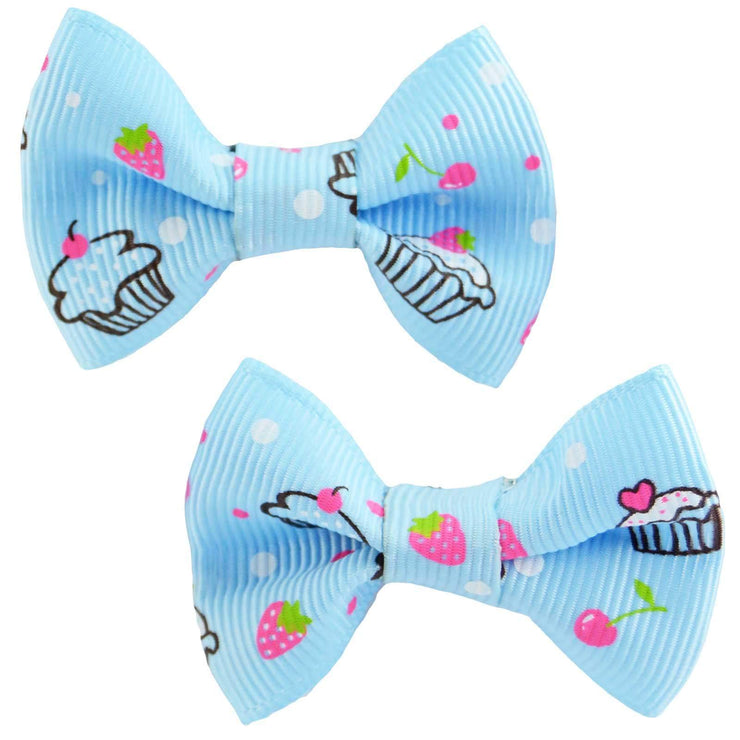 Image of Hair Clips - Cupcake Bows - Blue