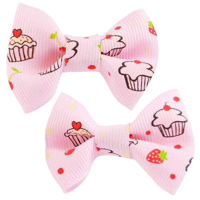 Image of Hair Clips - Cupcake Bows - Pink