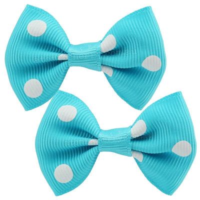 Image of Polka Dot Hair Clips - Turquoise/White