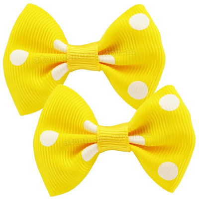 Image of Polka Dot Hair Clips - Yellow/White