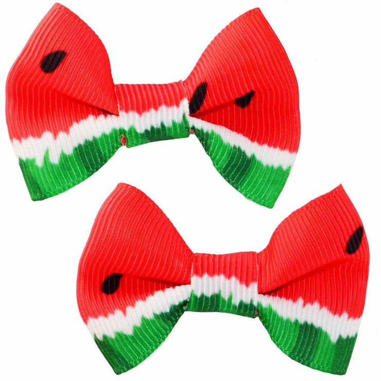 Image of Watermelon Bow Hair Clips