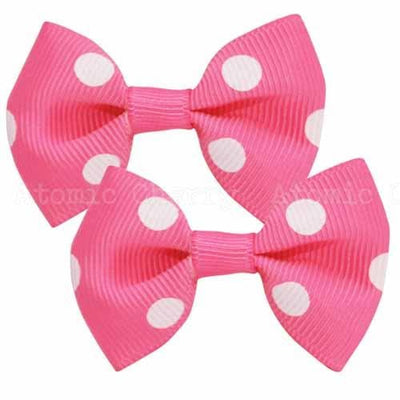 Image of Polka Dot Hair Clips - Hot Pink/White