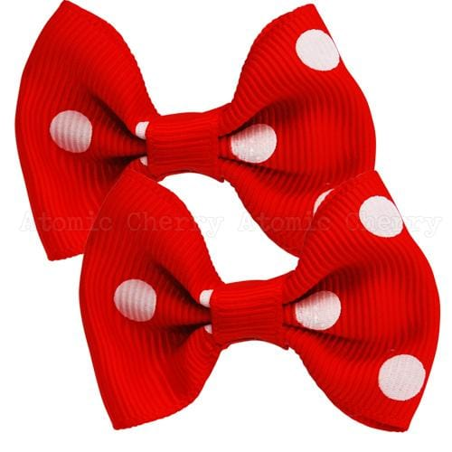 Image of Polka Dot Hair Clips - Red/White