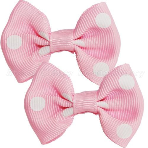 Image of Polka Dot Hair Clips - Baby Pink/White