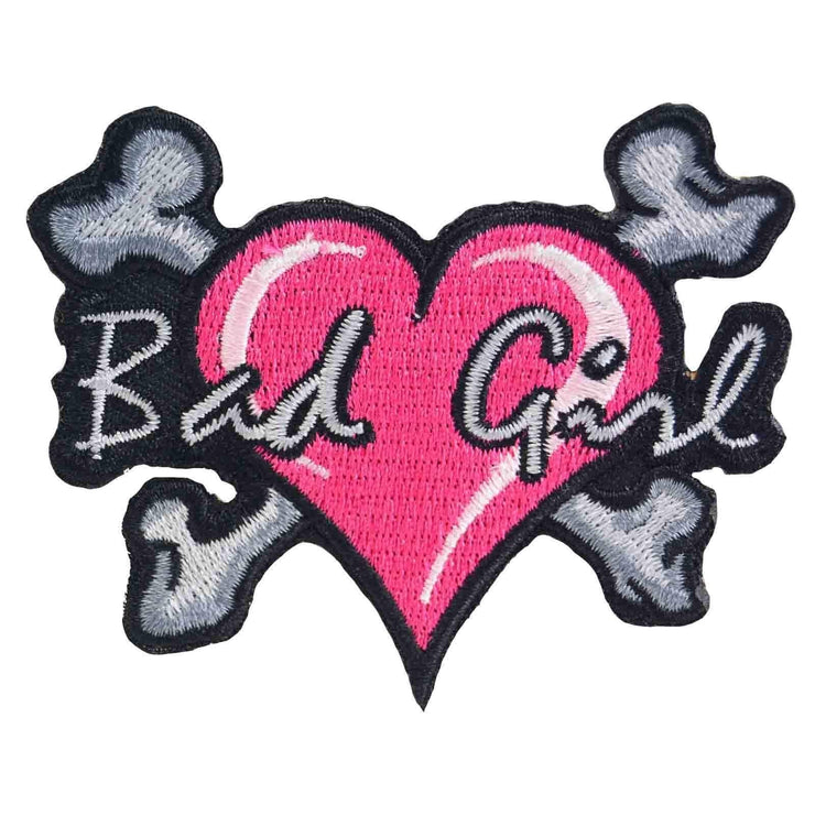 Image of Bad Girl Heart & Crossbones Iron On Patch