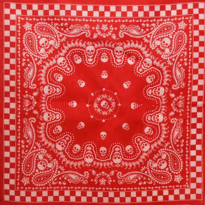 Image of Red Paisley Skull Bandana