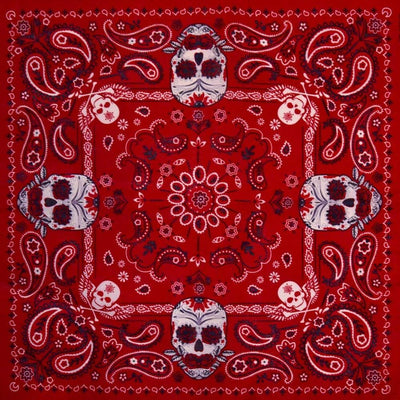 Image of Red Paisley Sugar Skull Bandana