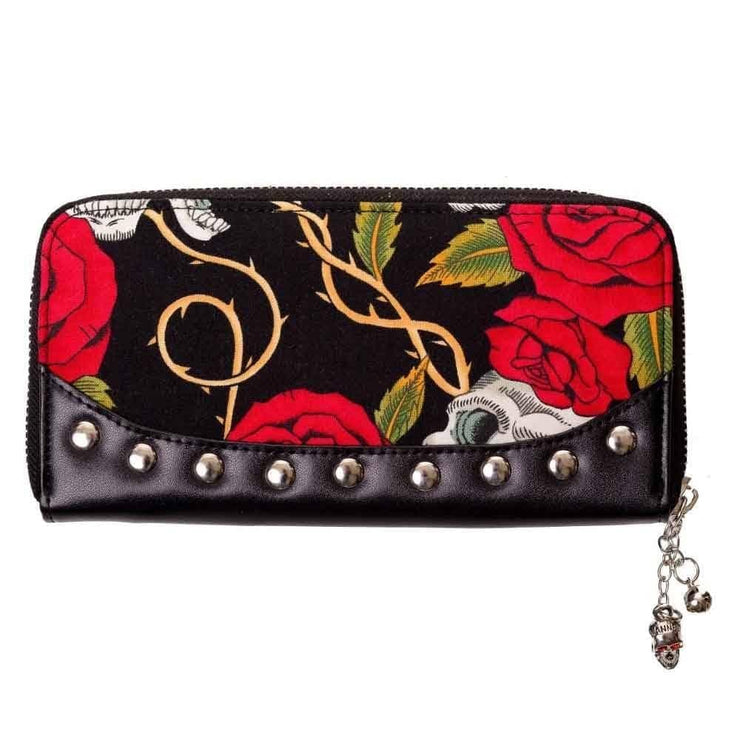 Image of Banned Skull & Roses Zip Around Wallet