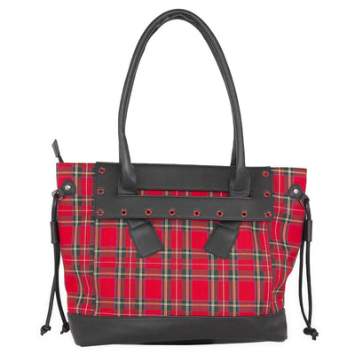 Banned Calum Tartan Tote Bag - Red front