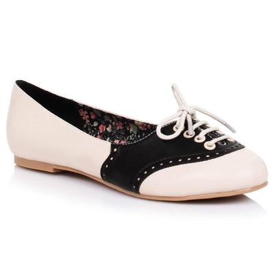 Image of Bettie Page Halle Shoes - Cream/Black