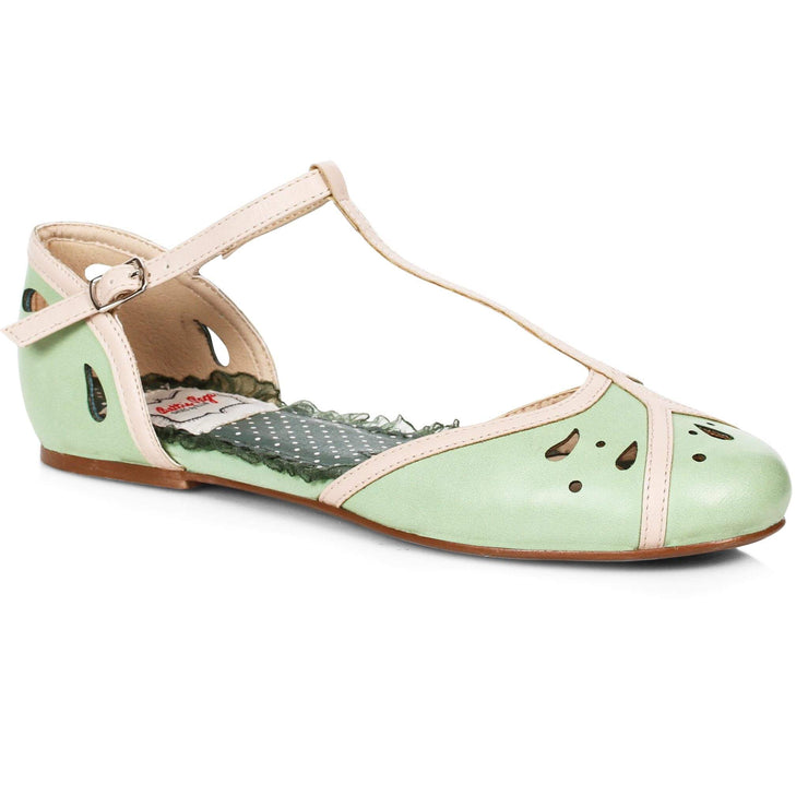 Bettie Page Shoes - Katie T-Strap Flats - Mint