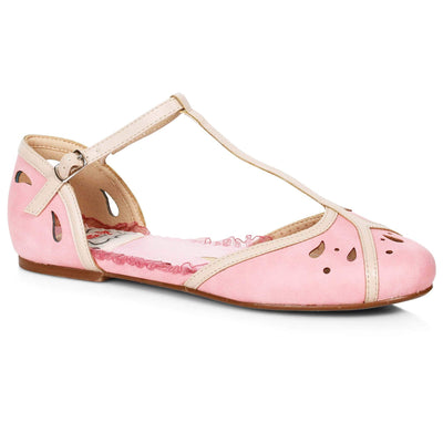 Bettie Page Shoes - Katie T-Strap Flats - Pink