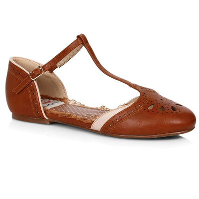 Bettie Page Shoes - Nancy T-Strap Flats - Brown