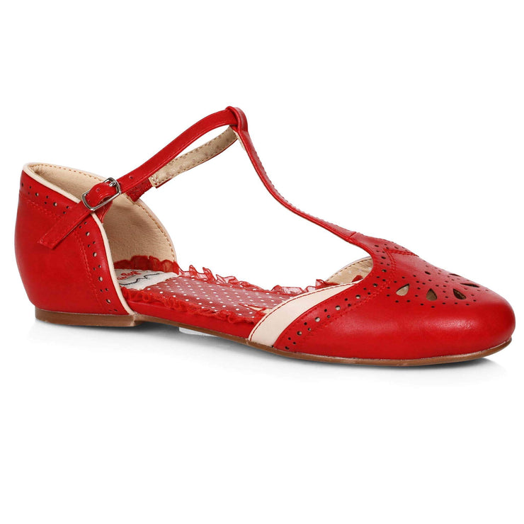 Bettie Page Shoes - Nancy T-Strap Flats - Red