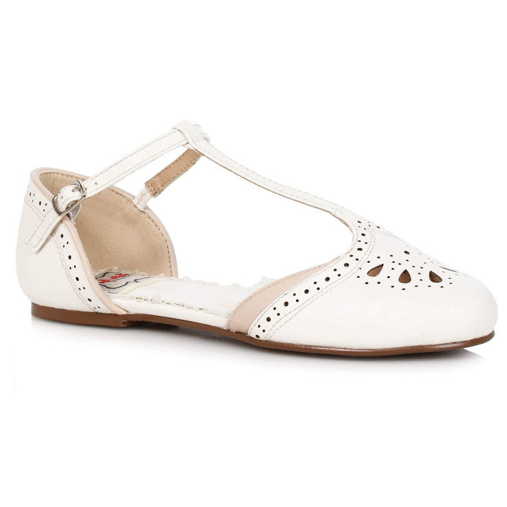Bettie Page Shoes - Nancy T-Strap Flats - White