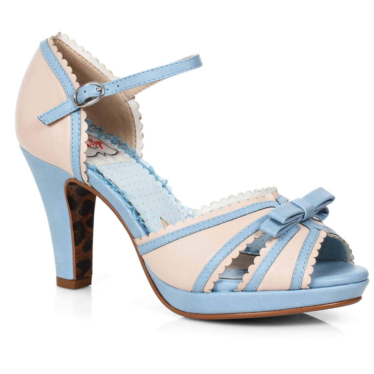 Bettie Page Shoes - Sue Heels - Blue/Nude