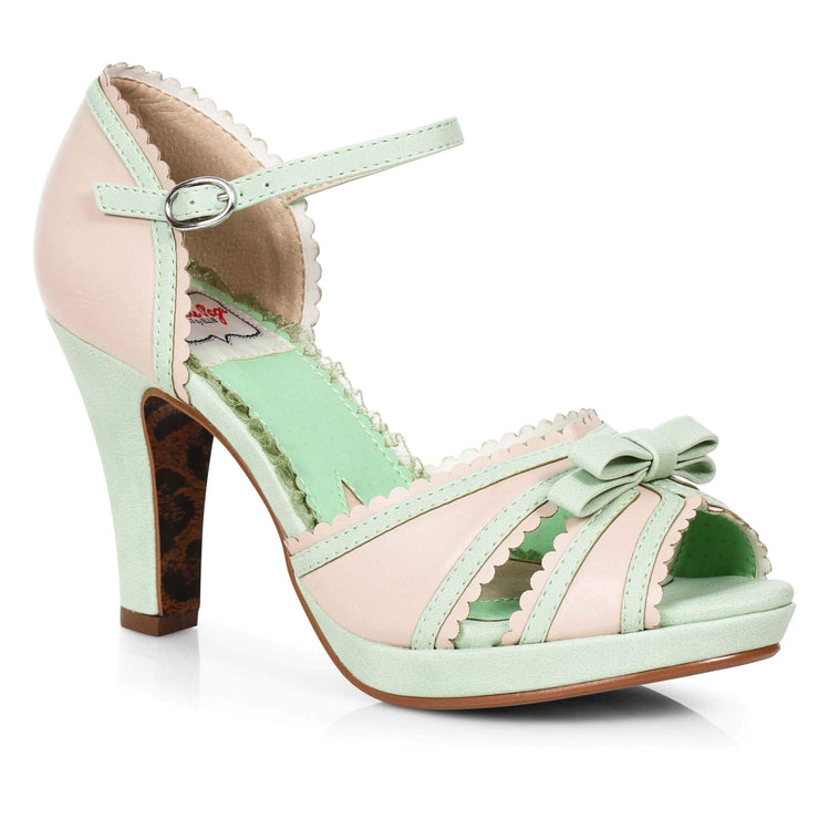 Bettie Page Shoes - Sue Heels - Mint/Nude