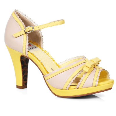 Bettie Page Shoes - Sue Heels - Yellow/Nude