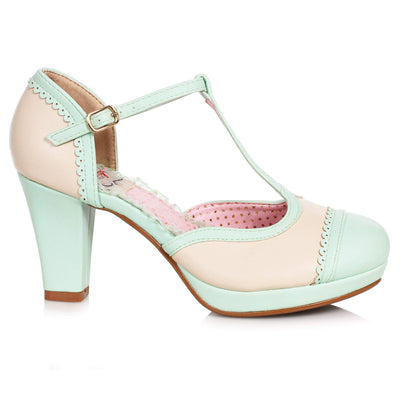 Bettie Page Shoes Cathy Heels - Mint/Cream - side shot