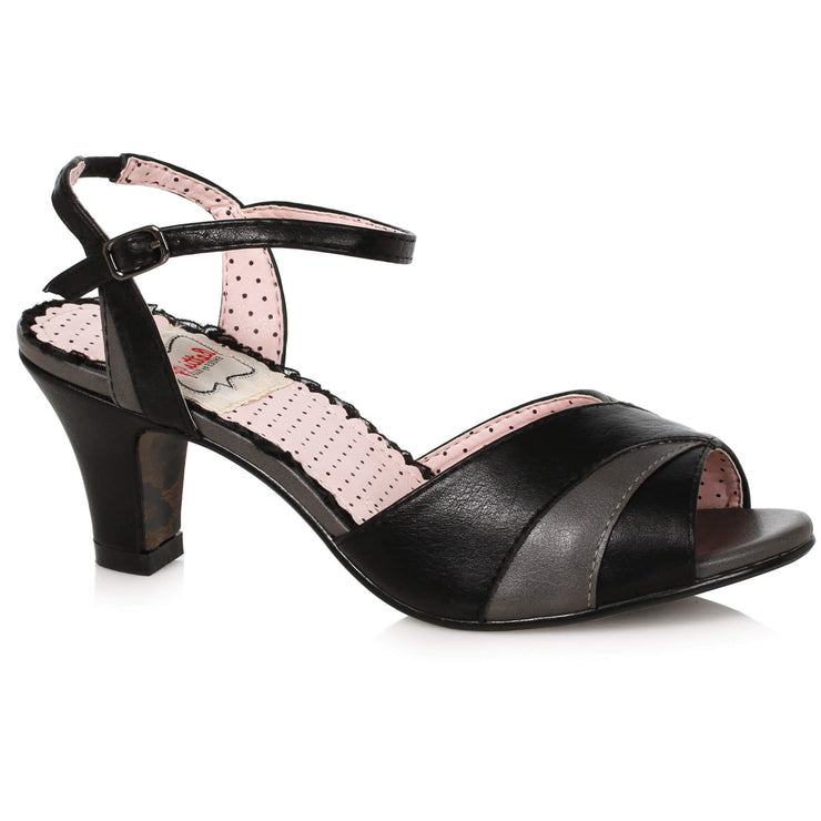 Bettie Page Shoes - Daphne Heels - Black/Grey - side view