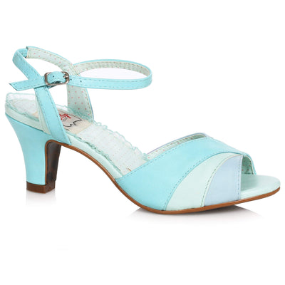 Bettie Page Shoes - Daphne Heels - Turquoise/Grey - side shot