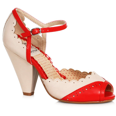 Bettie Page Shoes - Delia Heels - Red/Nude