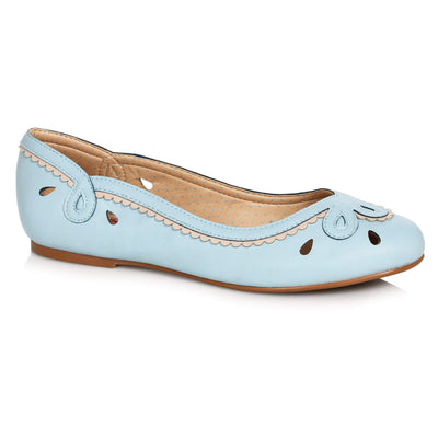 Bettie Page Shoes Dolly Flats - Blue - side view