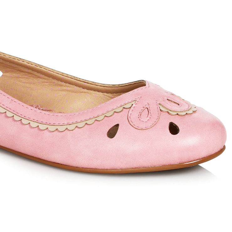 Bettie Page Shoes Dolly Flats - Pink close up of front
