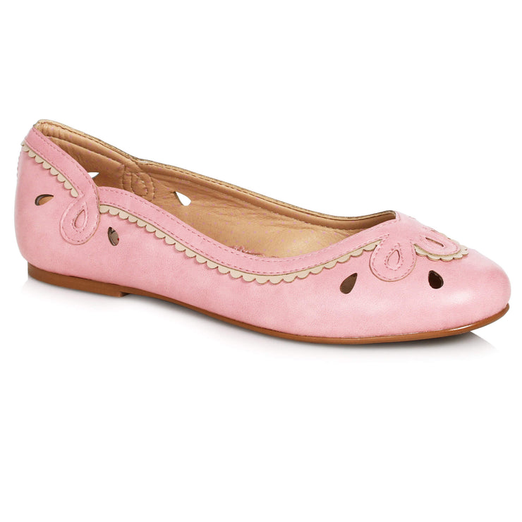 Bettie Page Shoes Dolly Flats - Pink - side view