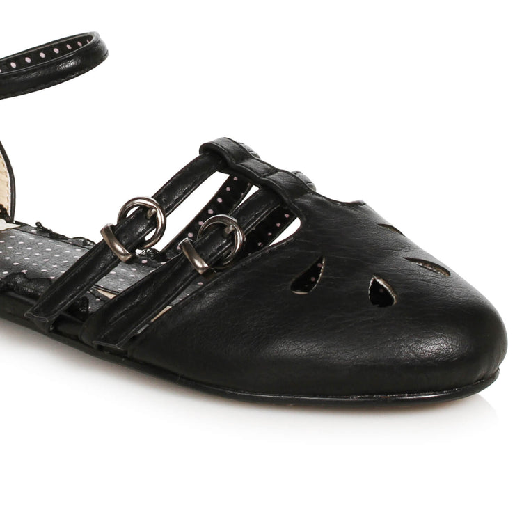 Bettie Page Shoes Polly Flats - Black - front cropped
