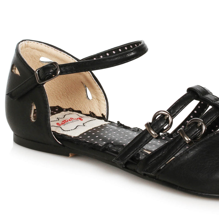 Bettie Page Shoes Polly Flats - Black - back cropped