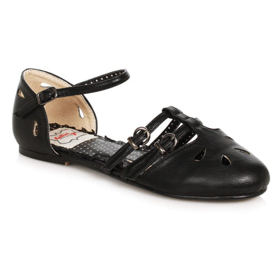 Bettie Page Shoes Polly Flats - Black - side view