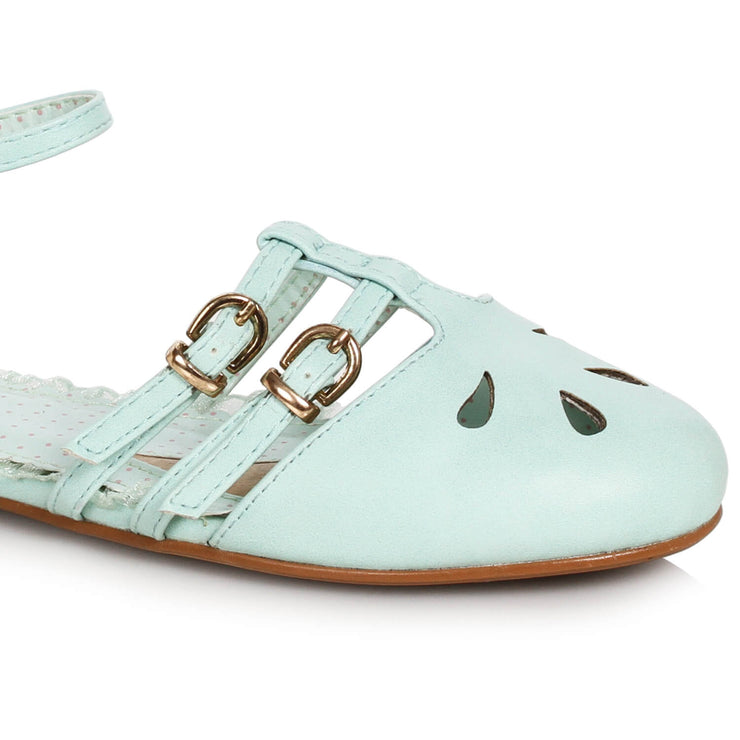 Bettie Page Shoes Polly Flats - MInt - front view