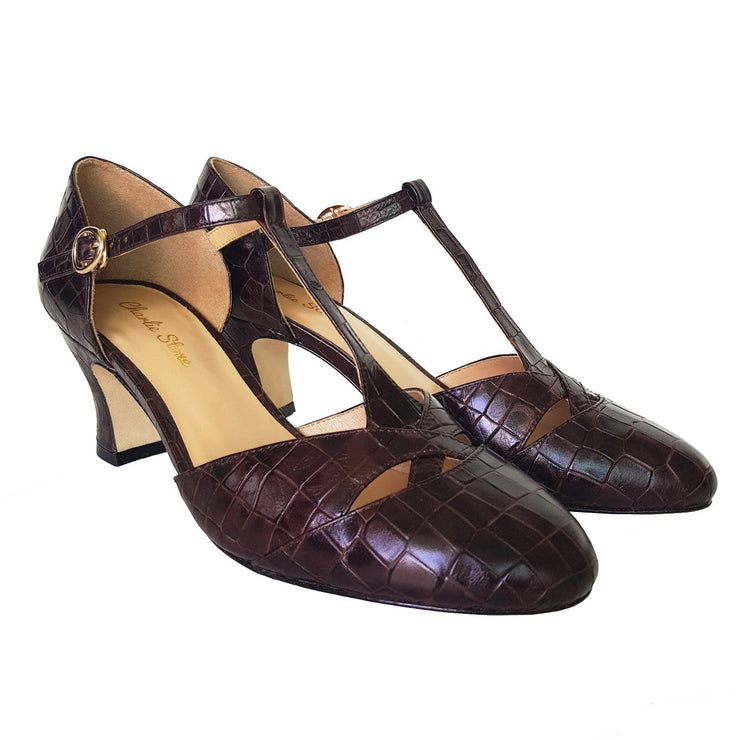 Image of Charlie Stone Luxe Roma Heels - Espresso Croc (Pre-Order)