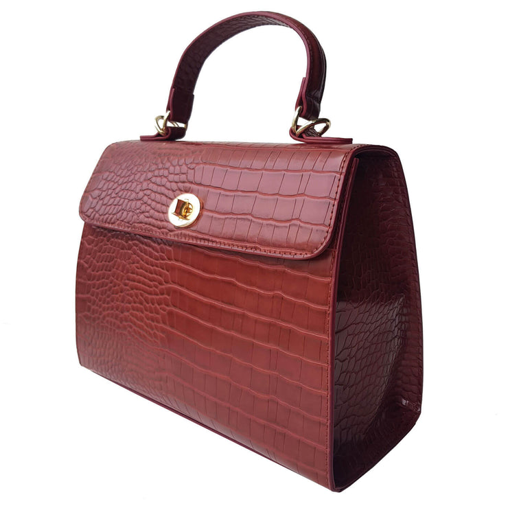 Charlie Stone Versailles Handbag - Walnut Croc - side view