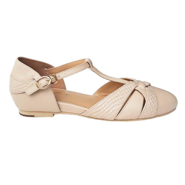 Charlie Stone Shoes Peta Flats - Cream - side shot