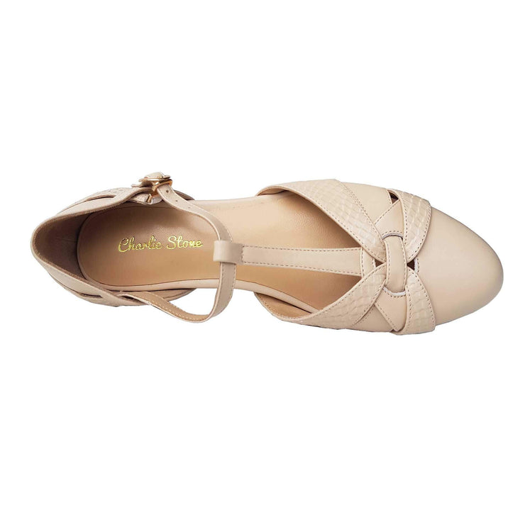 Charlie Stone Shoes Peta Flats - Cream - overhead shot