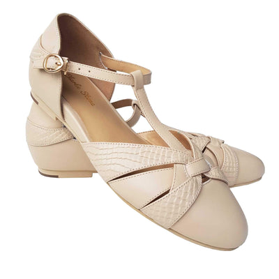Charlie Stone Shoes Peta Flats - Cream - pair shot