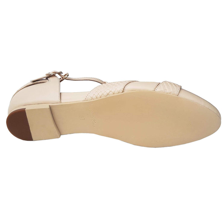 Charlie Stone Shoes Peta Flats - Cream - sole shot